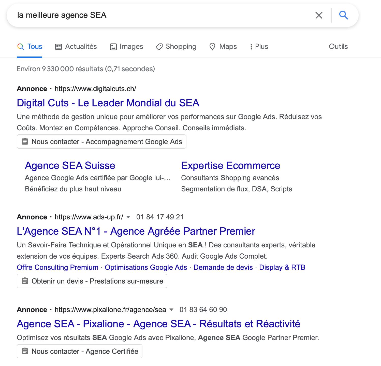 définition SEA référencement payant google ads